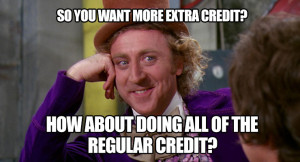 So you want more extra credit? How about doing all of the regular credit?