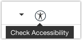 Screenshot of the accessibility checker icon in the rich text editor of Canvas.